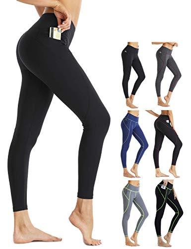 Rocorose Leggings for Women High Waist Yoga Tummy Control Workout Pants Push up Leggings,Net Black,L