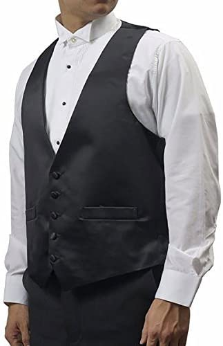 Broadway Tuxmakers Mens Black Five Button Vest with Satin Back