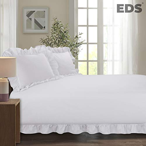 EDS Frilled Edge Duvet Cover Bedding Set - Corner Ruffle Quilt Cover Set with One Pillowcase - Easy Care - Secure Zipper Closure - Soft Poly Cotton – Machine Washable (Frilled White, Single)