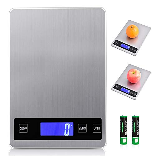 Viugreum - Báscula de cocina electrónica de 15 kg/1 g, acero inoxidable táctil sensible con pantalla LCD retroiluminada, autoapagado, batería (2#)