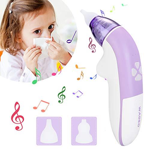 WADEO Baby Nasensauger Elektrisch Nasal Aspirator mit Musik Nasenschleimentferner Schnell den Nasenschleim Sicherer Schneller Waschbar Wiederverwendbar für Neugeborene und Kinder