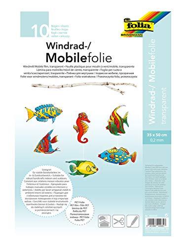 folia 420350 - Mobilefolie, Windradfolie, PVC, transparent, 0,2 mm, 35 x 50 cm, 10 Bogen - zum Basteln von Mobiles oder Windrädern