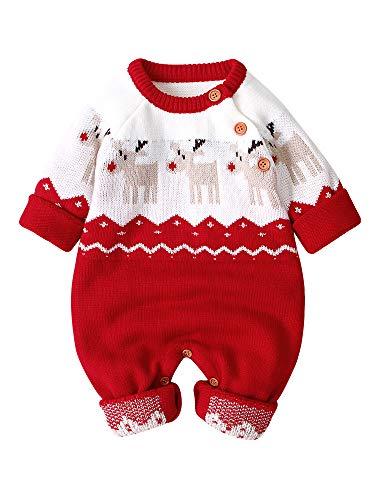 Carolilly Unisex Baby Strampler Weihnachten Elch Rentier Cartoon Strick Langarm und Rote Nase Winter (Elch rot, 0-3 Monate, 70)