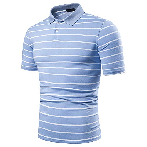 ZYUD Mens Slim Short Sleeve Lapel Neck Polo Shirts Striped Top Tee T-Shirts Sportswear Gym Fitness Short Sleeve Sports Golf T-Shirt Men's Polo Shirt Lapel Business Casual Polo Lapel Shirts