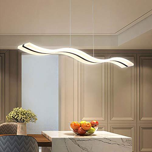 Moderna lámpara colgante LED con forma de ola regulable, moderna lámpara LED de araña, lámpara de techo para salón contemporáneo, comedor, cocina, mesa (mando a distancia regulable)