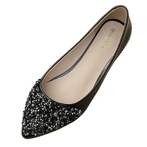Damen Flache Glitzer Brautschmuck Brautjungfer Abschlussball Dolly glitzernde Pumps Slipper Schuhe Größe 36-41, Schwarz - Schwarz  - Größe: 40.5 EU