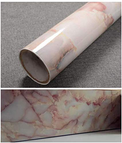 TJLMCORP-Marmortapete Tischtüraufkleber Selbstklebende Folie Selbstklebende Tapete Glänzendes Regal Tapete Möbelaufkleber (40 cm x 200 cm, Amber Pink)