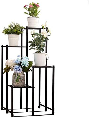 N / A Soporte para Flores Soporte para Flores Marco De Panel De Metal Europeo Retro Industrial Loft Tubo Cuadrado Grueso Soporte para Flores De 4 Capas Estante De Almacenamiento Negro Decor Durable