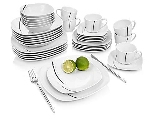 Sänger GeschirrserviceBilgolaBlack Lines – 36 teiliges Tafelservice für 6 Personen, weißes Teller-Set aus Porzellan mit dekorativenschwarzenStreifen - Teller, Tassen, Schalen