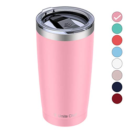 Umite Chef 20oz Stainless Steel Tumbler with Lid, Double Wall Vacuum Insulated Travel Mug Tumbler with Straw, Durable Insulated Coffee Mug for Hiking, Camping & Traveling(Pink)