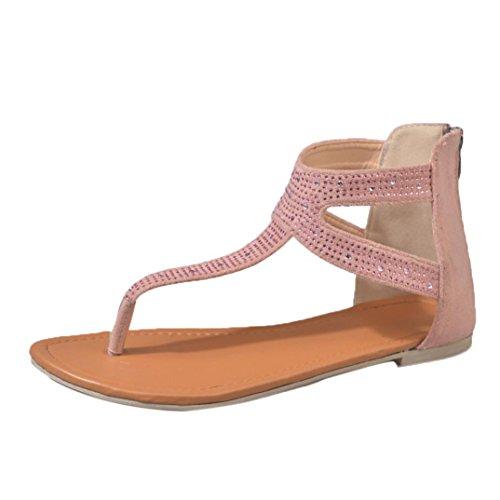 PAOLIAN Sandalias de Vestir para Mujer Verano 2018 Terciopelo Sandalias de Romano con Diamante Suela Blanda Zapatos de Planos Cómodos Open Toe Fiesta T-Strap Sandalias Mujer Moda