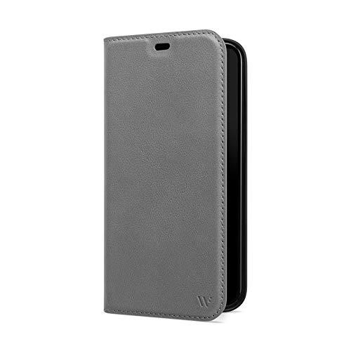 WIIUKA Hülle für iPhone 12/12 Pro Lederhülle, Deutsches Premium Leder, mit Kartenfach, extra Dünn, Handyhülle mit Standfunktion, Tasche Grau