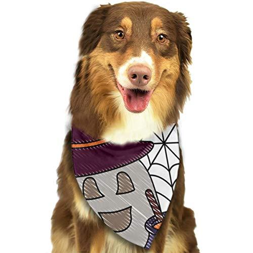 Halloween-Lätzchen mit Hut und Besen, personalisierbar, für Hunde und Katzen, Dreieck, für kleine bis große Hunde