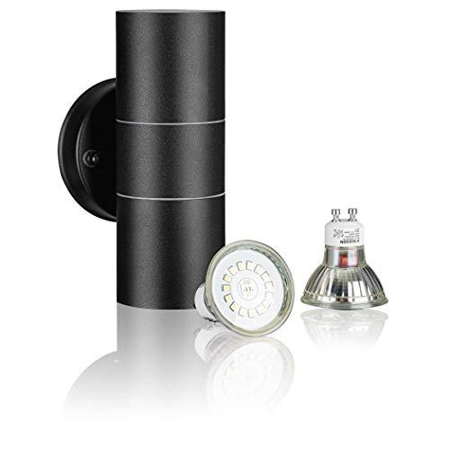 SEBSON® LED Lampada da Parete Esterno, Applique Esterno Doppia Luce, Acciaio Inox Nero, incl. 2x Lampadina GU10 3,5W Bianco Freddo
