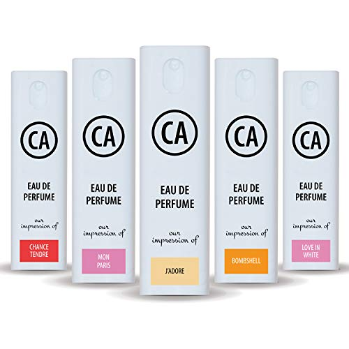 CA Perfume 2020 Most Attractive Women Set Impression of (Love in White + Bombshell + Chance Tendre + Jadore + Mon Paris) Fragrance Sample Travel Size Parfum Sprayer (0.3 Fl Oz/10 ml) x5