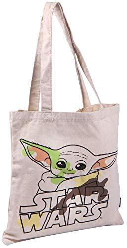 Cerdá Damen Bolso de Algodón Orgánico Licencia Oficial Tasche aus Bio-Baumwolle Baby Yoda-Offizielles Lizenzprodukt Star Wars, weiß, M