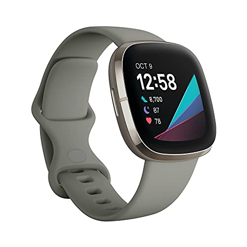 Fitbit Sense Advanced Smartwatch with Tools for Heart Health, Stress Management & Skin Temperature Trends, Sage Grey/Silver, One Size (S & L Bands Included)