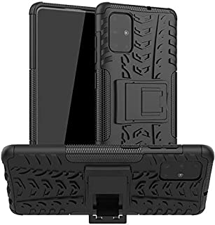 For samsung galaxy a71 heavy duty armor shockproof case cover with stand black
