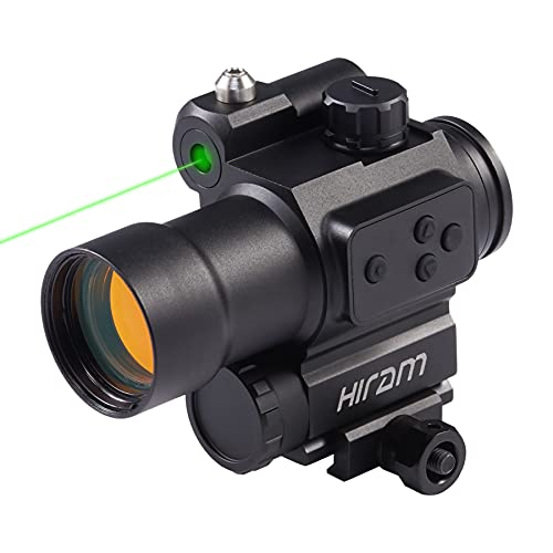 HIRAM 1x30 Red Dot Scope with Green Laser 2 MOA Red Dot Sight for Long Guns and Handguns Reflex Sight Rifle Scope for 20mm Picatinny Rifle, CR2 Battery Include