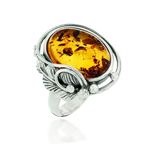 925 Oxidized Sterling Silver Amber Gemstone Simple Oval Statement Ring, Size 6