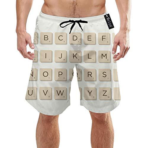 Ye Hua Spanien. Dezember Scrabble Letters Herren Badehose Sommer Coole Quick Dry Boardshorts Badeanzug mit Seitentaschen Mesh Futter XXL