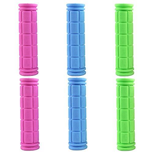 WXJ13, 3 paia di manopole per manubrio della bicicletta, per BMX/MTB/Road Mountain/ragazzi e ragazze, 3 colori, blu, rosa, verde