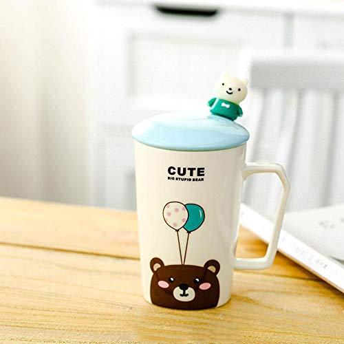 Xiaobing Taza de Dibujos Animados Lindo con Tapa Cuchara Mono Taza de Desayuno de cerámica Taza de café Taza de Leche Oficina -D301-taza Individual