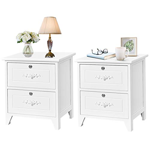 Best white bedside table with locking drawers