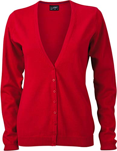 JN660 Damencardigan Strickjacke Damen Cardigan V-Neck L,Red