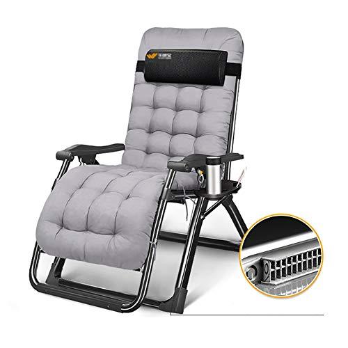 Fauteuils de salon inclinables Chaise longue de soleil inclinable pliante de patio pour le camping sur la plage, Fauteuil de salon robuste à gravité zéro avec coussin en coton, Supporté