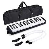 Asmuse Melodica 32 Teclas Set Melódico Piano de Viento de Teclado Instrumento de Acordeón de órgano con 4 Boquillas y Paño de Limpieza, Bolsa de Transporte para Principiantes Niños