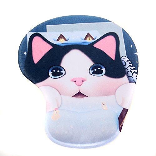 TUKA Mouse Pad Alfombrilla de ratón con el cojín de muñeca de Gel, Alfombrilla de ratón con Gel, Mouse Pad Gel, Gato de Cara Grande, TKC5100 bulkcat