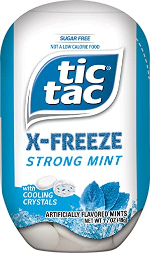 Tic Tac X-FREEZE Sugar Free Breath Mints, Strong Mint, 1.7 oz (Pack of 8), Perfect Valentine's Day Gifts for Boys and Girls