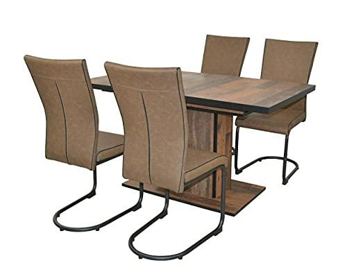 WXYQY 4X Schwingstuhl Kunstlederbezug braun-schwarz Freischwinger Esszimmerstuhl schwingstuhl