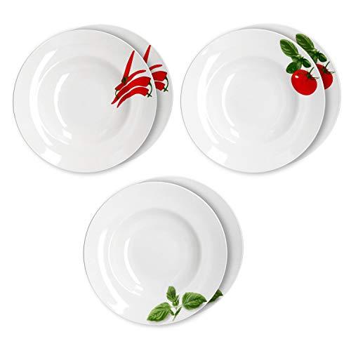 MamboCat 6er Set Pastateller Tomate, Chili & Basilikum I Ø 26,5cm I Weiße Teller mit schönem Motiv I Nudel Teller I Essteller tief I Geschirr zum Anrichten von Pasta
