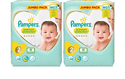 Pampers Pañales New Baby Jumbo Pack, tamaño 2, 2x 68unidades)