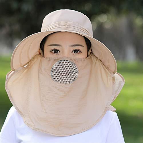Mcttui del Sombrero del Cubo del Sombrero de Sun P Sombreros de Sol para Mujer Estilo Cubierta Cara Sol Sombrero Verano al Aire Libre línea té Recoger Cubierta Cara Sol Sombrero Grande bo