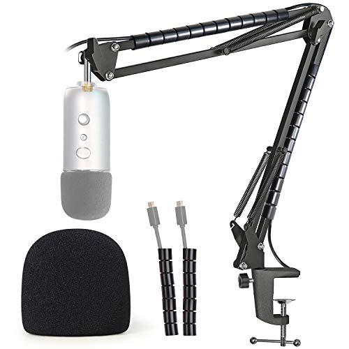 Blue Yeti Mic Stand with Foam Cover Windscreen - Microphone Boom Arm Stand with Pop Filter Compatible with Blue Yeti, Blue Yeti Pro Mic by YOUSHARES