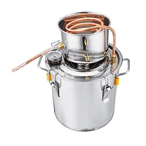 perfk Kit de Destilador de Alcohol de Agua Sin Gas Moonshine, Tubo de Cobre, Caldera de Aceite para Elaboración de Vino, para Bricolaje, Whisky, Brandy - 8L