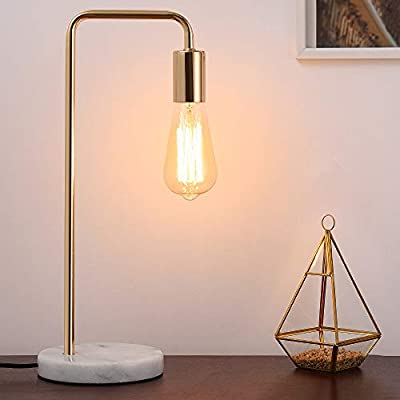 Desk Lamp, Gold Table Lamp Industrial Nightstand Lamp, Edison Lamp with White Marble Base for Bedside, Living Room, Bedroom, Office, Dresser, Collage Dorm Room