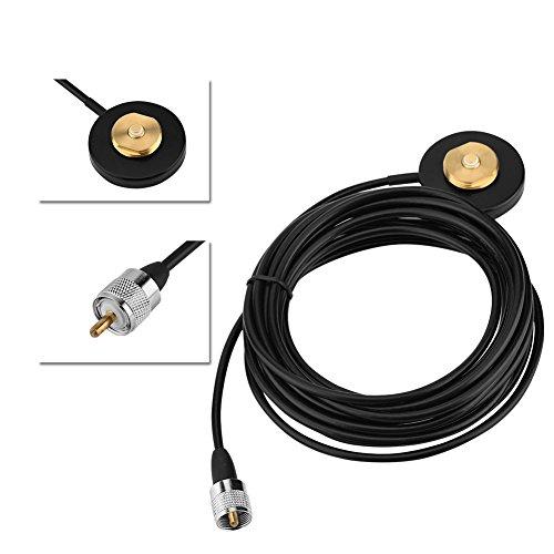 Zerone NMO Support Base magnétique avec UHF connecteur Mâle Câble Extension DE 5 m pour Auto Radio Talkie Walkie