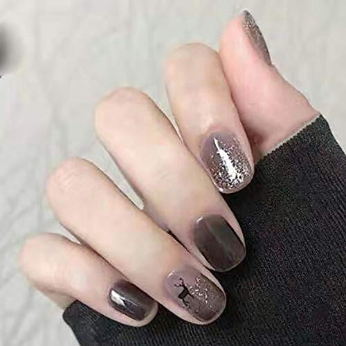 Haloty Christmas Glossy Press on Nails Short Black Reindeer Square Fake Nails Bling Deer Full Cover Acrylic False Nail Tips for Women and Girls(24pcs)
