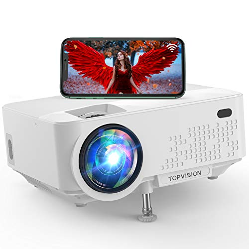 "Wi-Fi Projector, TOPVISION 6500L Mini Projector with Synchronize Smart Phone Screen, Full HD 1080P Projector and 240"" Display Supported, Compatible with TV Stick, PS4, HDMI, VGA,AV, USB"