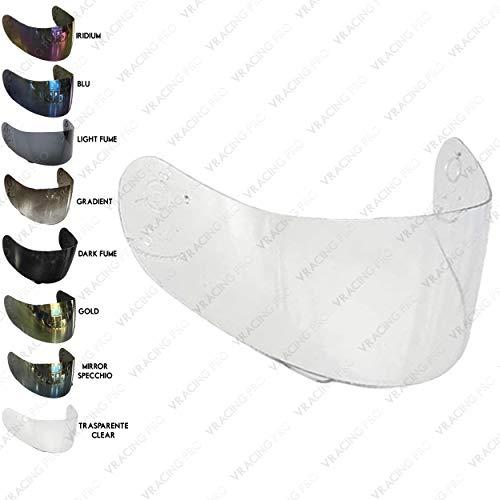 VRacing - Visera AGV S-4, Ti-Tech, Stealth, Mirage, Airtech, Daystar, Gp-Pro, X-Vent, V-Flyer, Syncro, Bolt, Ghost transparente, color azul y dorado Multi-taglia Trasparente Chiaro