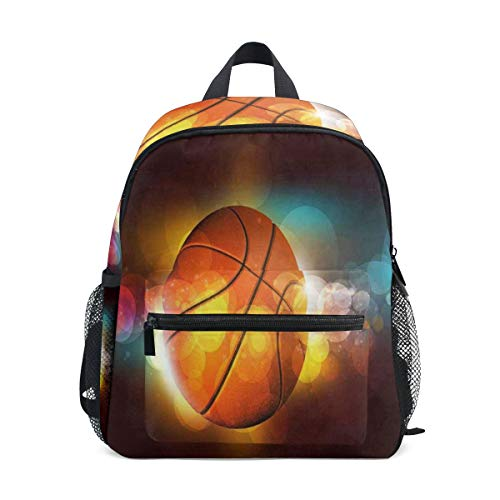 Basketball On The Color Glow School Backpack For Boys Kids Preschool School Bag Toddler Bookbag