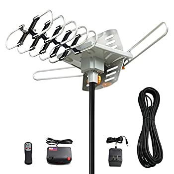 Vansky Outdoor Antenna Motorized 360 Degree Rotation OTA Amplified HD TV Antenna for 2 TVs UHF/VHF/1080P Channels Wireless Remote Rotation Control - 32.8  Coax Cable