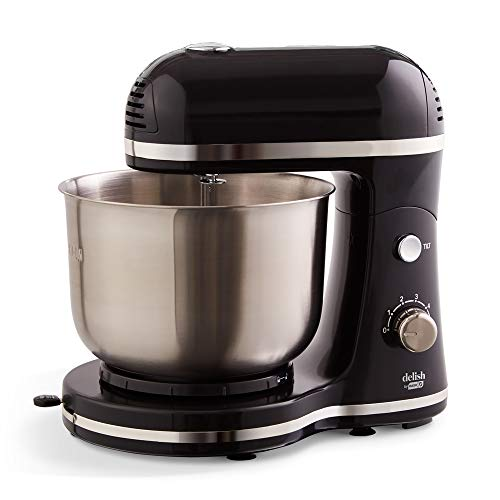 DASH Delish by Dash Compact Stand Mixer 3.5 Quart with Beaters & Dough Hooks Included - Black (DCSM350GB)