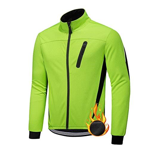Giacca da Ciclismo Invernali da Uomo Abbigliamento Ciclista Mantellina Antivento Uomo Maglia da Bici Vello Maniche Lunghe Antivento Ciclismo Maglia Autunno Inverno (Verde, XL)