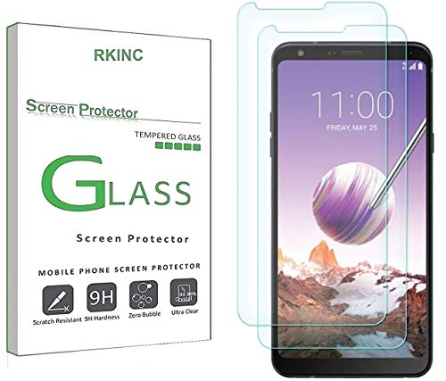 RKINC Screen Protector for LG Stylo 4 Plus, Tempered Glass Screen Protector[0.3mm, 2.5D][Bubble-Free][9H Hardness][Easy Installation][HD Clear] forLG Stylo 4 Plus(2 Pack)