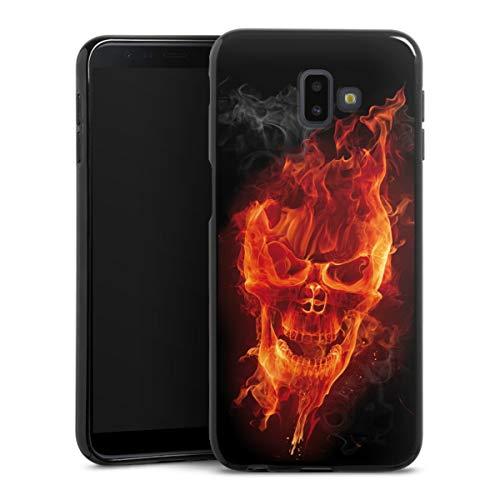 DeinDesign Coque en Silicone Compatible avec Samsung Galaxy J6 Plus Duos (2018) Étui Silicone Coque Souple Tête de Mort Feu Crâne